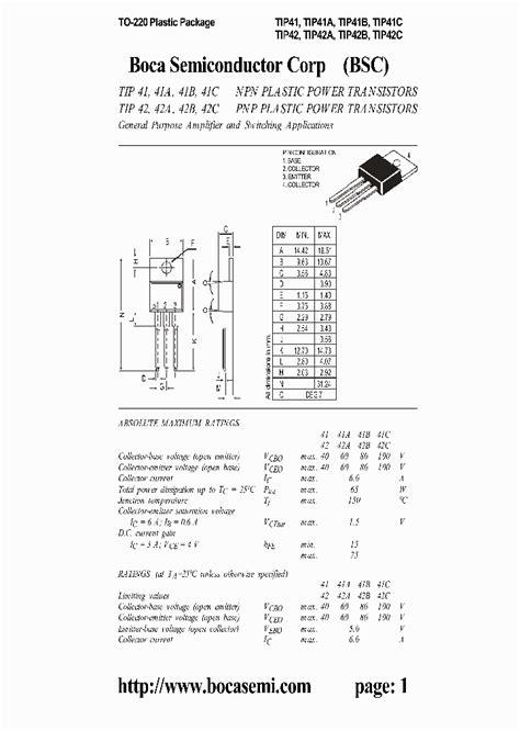tip41 transistor datasheet pdf tip41 303904 pdf datasheet ic on line
