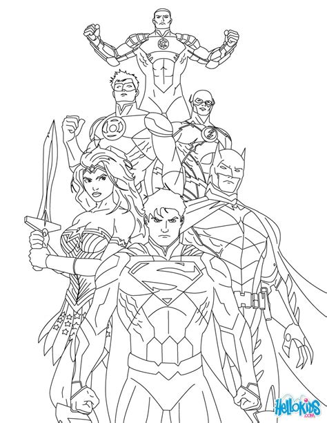 coloring pages of justice league justice league of america coloring pages hellokids com