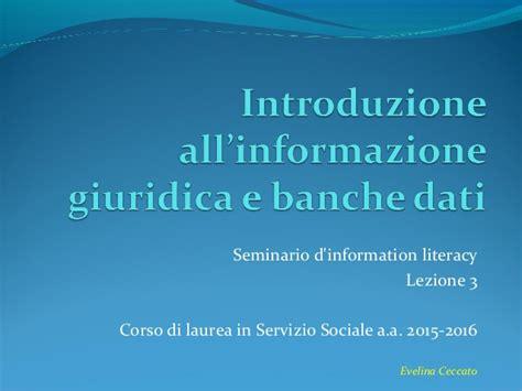 banche dati email introduzione all informazione giuridica e banche dati