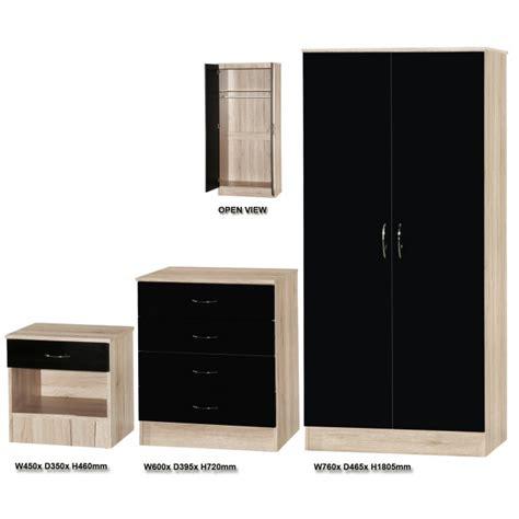 black and oak bedroom furniture alpha black gloss and walnut bedroom furniture set