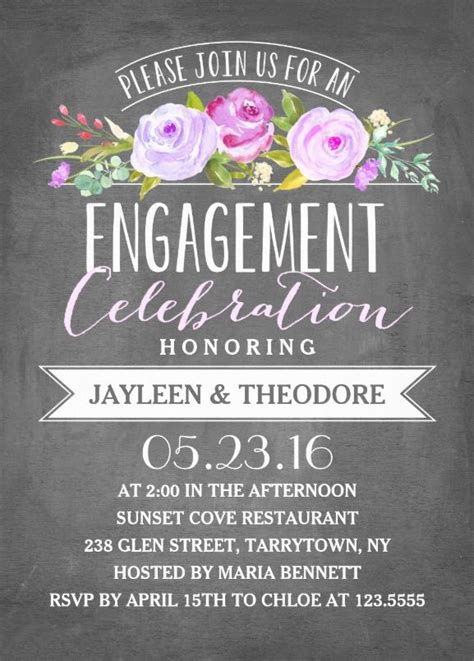 Wedding Background Chalkboard by Engagement Chalkboard Invitation Template For