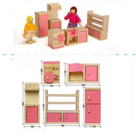 wood family doll dollhouse furniture set pink miniature