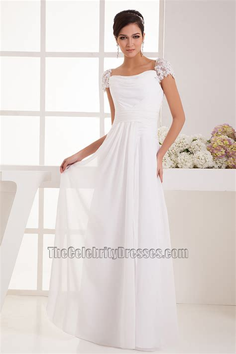 simple cap sleeves chiffon floor length wedding dress