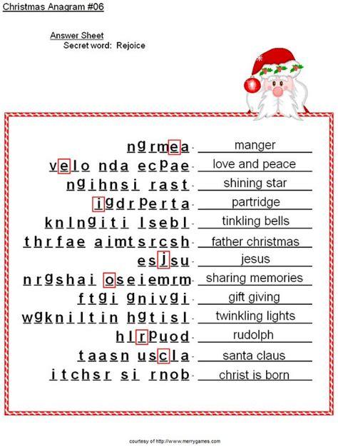 Printable Christmas Anagrams | free printable christmas activities anagrams christmas