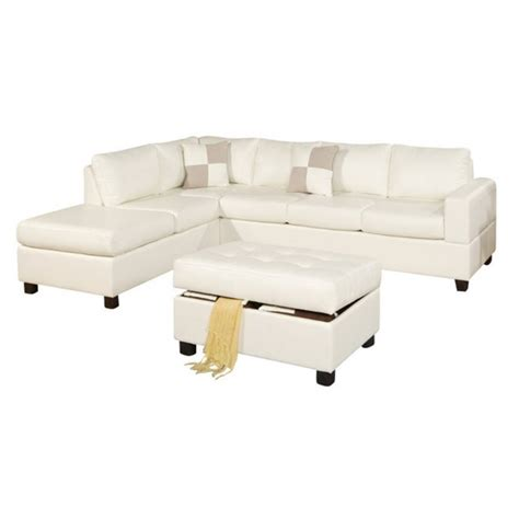 Poundex Bobkona Soft Touch 3 Piece Leather Sectional Sofa Soft Sectional Sofas