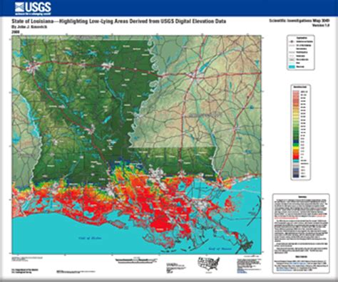 south louisiana elevation map topographic map showing louisiana risks from sea level