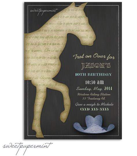 printable birthday cards with horses vintage horse boy birthday and boy birthday invitations