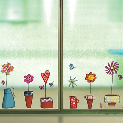 Flower Decor In Window Kitchen Flower Butterfies Wall Stickers Decal Kitchen