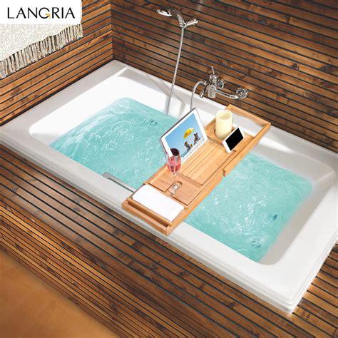 bathtub rack tray langria bamboo bathtubtray handcrafted bath tray bathroom