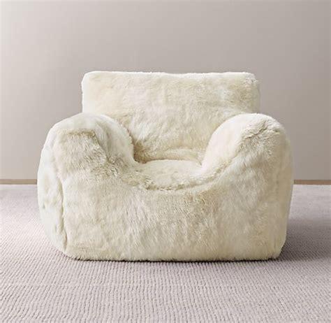 white fuzzy bean bag chair images