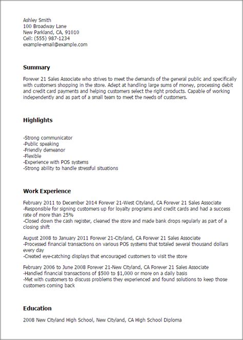 Sales Assistant Cv Exle No Experience by 1 Forever 21 Sales Associate Resume Templates Try Them