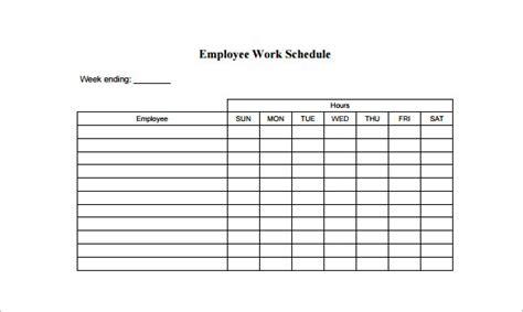 work schedule template 9 free sample example format download