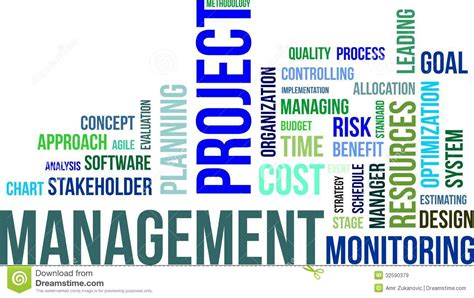 Project 1 Words by Word Cloud Project Management Stock Vector