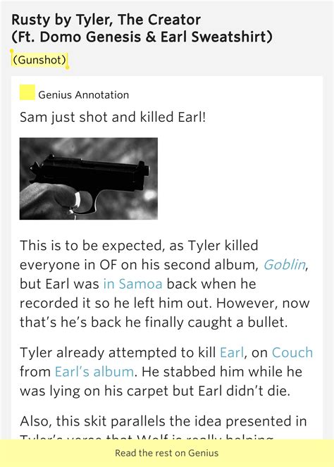 earl sweatshirt couch lyrics gunshot rusty by tyler the creator
