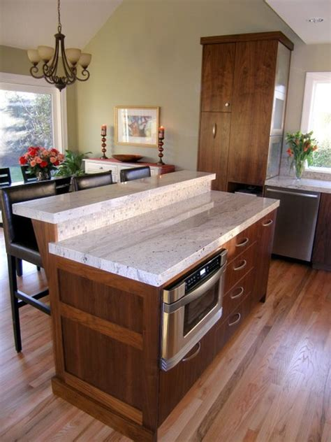 two tier kitchen island designs two tier granite topped island with thick edge detail