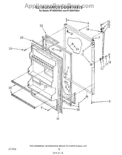 roper refrigerator parts diagram parts for roper rt16dkyvw01 refrigerator door not