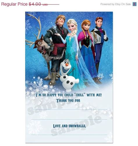 printable frozen thank you cards 9 best images of frozen printable birthday card