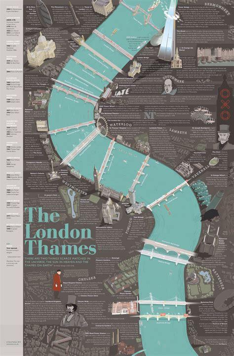 River Thames Map Poster   the london thames poster joemoon