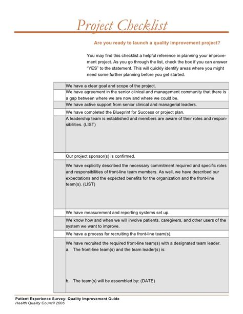 Quality Improvement Project Guide Quality Improvement Plan Template Healthcare