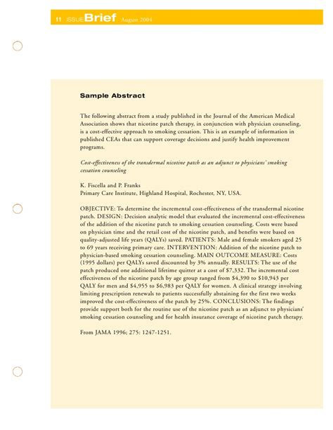 Cost Effectiveness Analysis In Health Economics Cessation Counseling Template