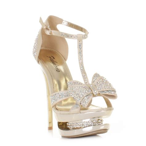 high heels gold shoes womens gold satin diamante platform bow prom shoes