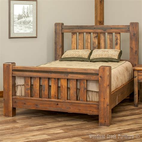 rustic rough sawn timber frame bed