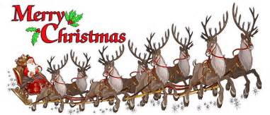 merry christmas santa claus with sleigh and reindeer