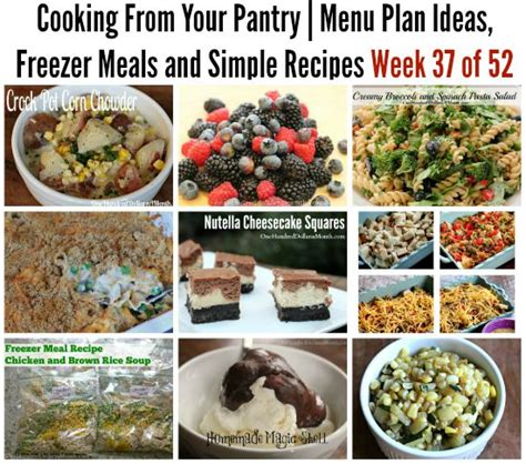 Simple Pantry Recipes by Cooking From Your Pantry Menu Plan Ideas Freezer Meals