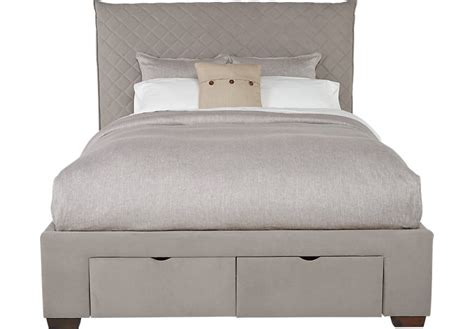 upholstered bed with drawers edyn gray 3 pc queen upholstered bed with 2 drawer storage