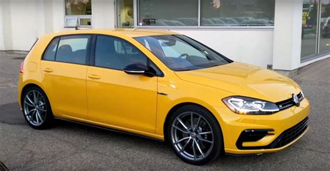 volkswagen yellow ginster yellow 2018 vw golf r is a thing of retro beauty
