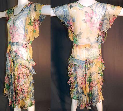 Dress Silk Print White Flower Af793 Import vintage colorful floral print silk chiffon batwing tiered ruffle skirt dress ebay