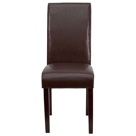 Parsons Upholstered Dining Chairs Upholstered Parsons Dining Chair In Brown Bt 350 Brn Lea 008 Gg
