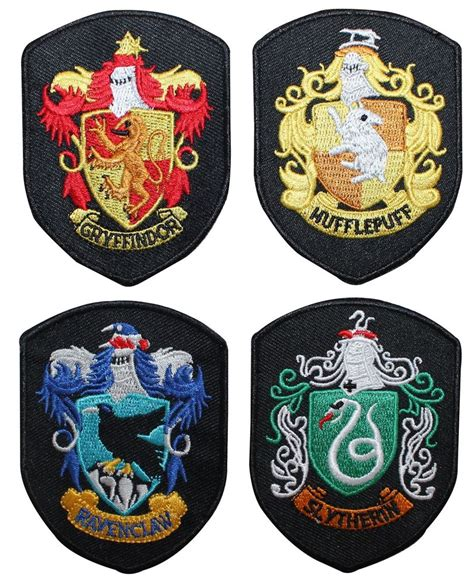 house of shields set of 4 smaller hogwarts house shields harry potter robe iron on applique patch ebay