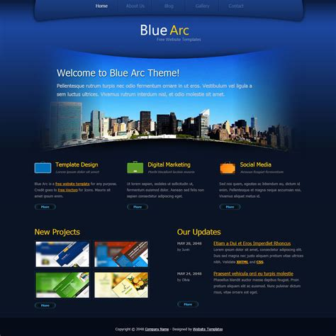 website layout design in html and css blue arc design free html css templates
