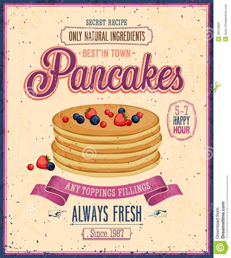 vintage pancakes poster stock vector image of graphic