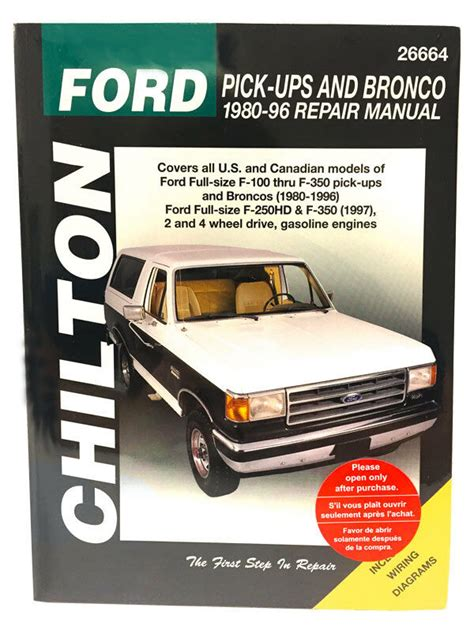 free online auto service manuals 1985 ford bronco spare parts catalogs chilton books 26664 repair manual ford f150 f250 f350 super duty bronco 87 96 ebay