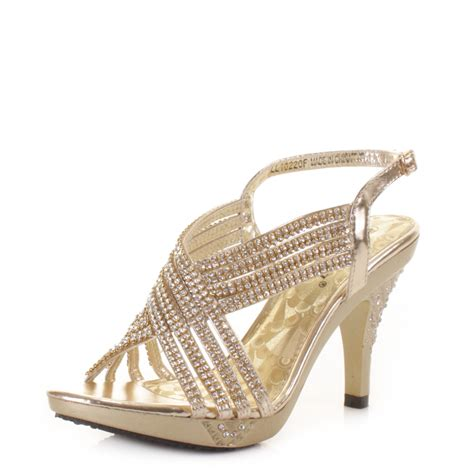 womens prom gold diamante strappy mid heel