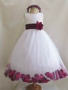 flower dresses white with burgundy rose by