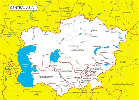 Map Central Asia by Central Asia Maps