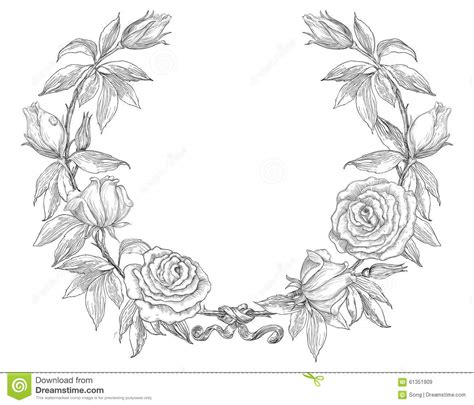 retro roses wreath stock vector image of vector