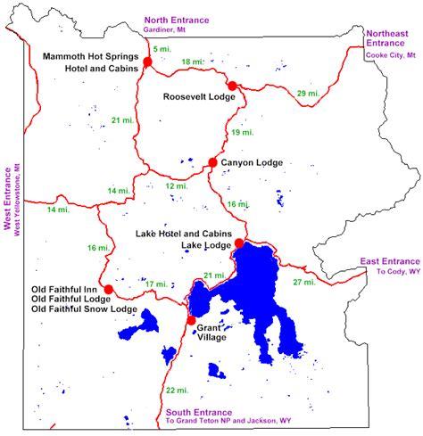 yellowstone lodging map maps
