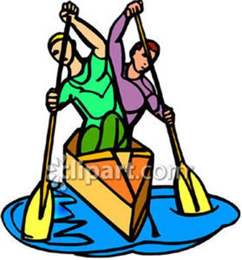 skiff orangutan men rowing a boat royalty free clipart picture