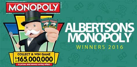 Albertsons Monopoly Sweepstakes - albertsons monopoly winners 2016