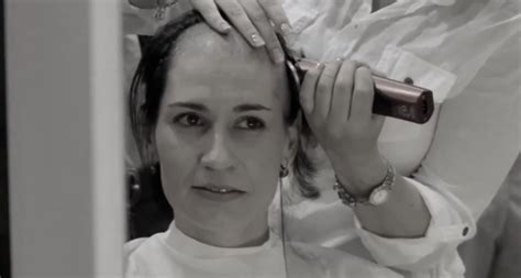 Ladies Headshaving | women shave their heads to support friend with breast