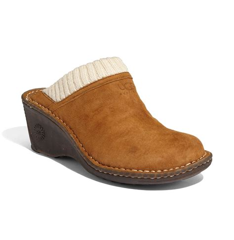 wedge clogs for ugg gael clogs with knit cuffs in brown chestnut lyst