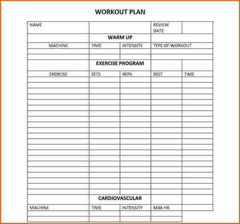 out of plan template 7 workout plan templatememo templates word memo