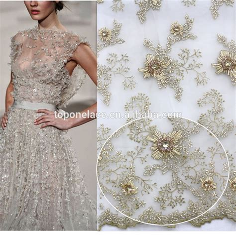 beaded fabric for dresses 2016 high fashion floral lace dress fabric beaded pearl