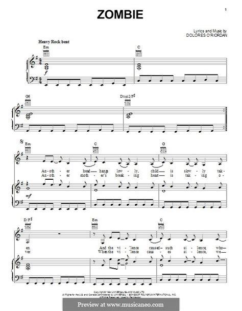 tutorial de zombie the cranberries guitarra zombie the cranberries por d o riordan partituras on