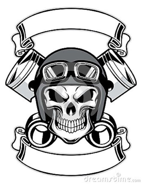 skull wearing retro motorbike helmet tattoo design photo
