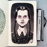 Wednesday Addams Drawing   500 x 500 jpeg 73kB